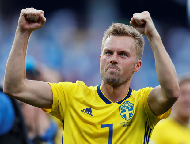 Sebastian Larsson, pictured here after Sweden's World Cup Group F win over South Korea last Sunday, will face a Europa League clash against Shamrock Rovers with his new club AIK next month