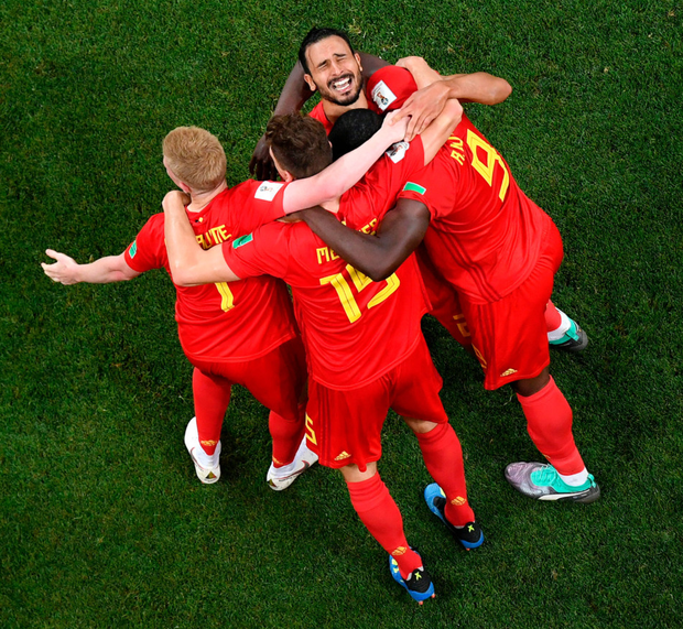 LATE HERO: Nacer Chadli is congratulated by his Belgian team-mates after scoring the winning goal in Monday night's World Cup last-16 win over Japan.