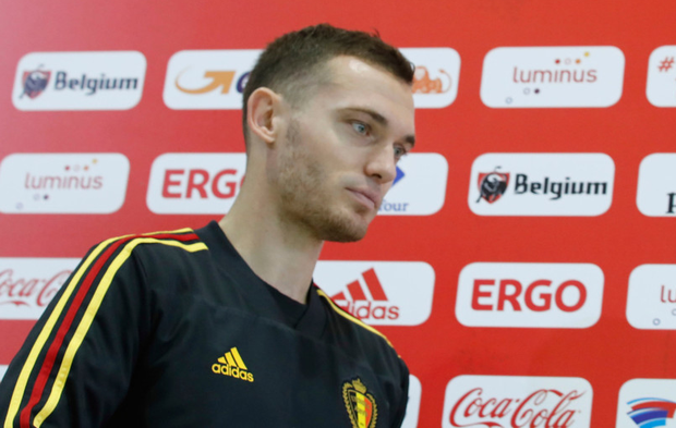 Belgium's Thomas Vermaelen at a press conference in Dedovsk, Russia