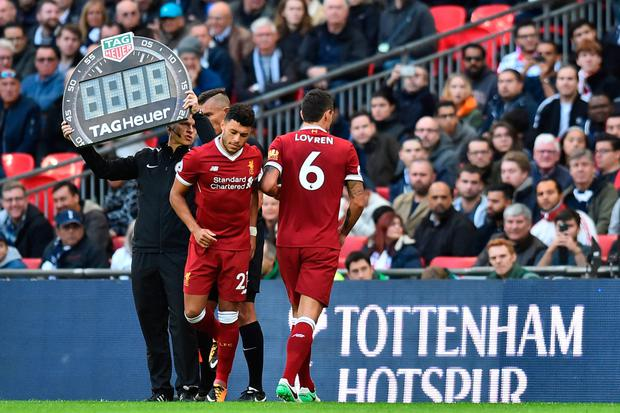 TAKEN OFF: Lovren was subbed after 31 minutes against Spurs last October. Pic: Getty