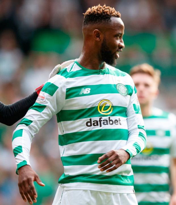 Blow: Celtic's Moussa Dembele celebrates scoring from a penalty during the Champions League match against Alashkert at Celtic Park