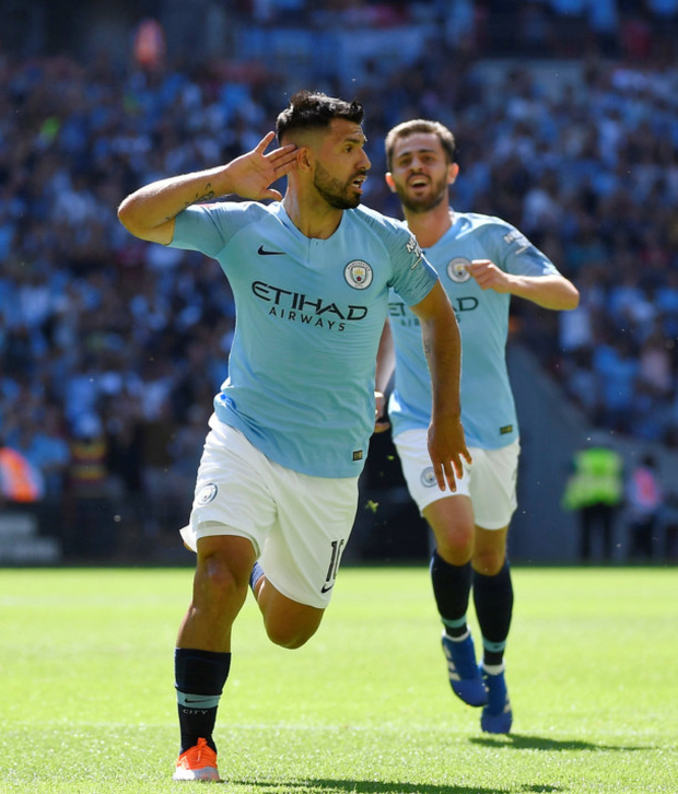 WEMBLEY WONDER: Sergio Aguero celebrates scoring the first of his two goals in Manchester City's Community Shield win over Chelsea at Wembley yesterday Photo: Reuters