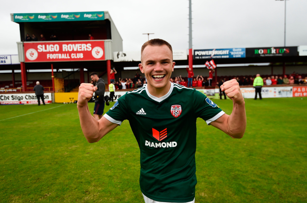 Rory Hale (pictured) scored the only goal of the game, but Doherty was Derry's real hero, making three sublime saves to keep Sligo at bay. Photo: SPORTSFILE