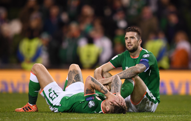 END OF THE WORLD: Shane Duffy (r) and Jeff Hendrick show their dejection after the World Cup 2018 play-off thrashing by Denmark at the Aviva Stadium. Photo: SPORTSFILE