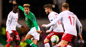 Ireland striker Callum Robinson is surrounded by Denmark players (l-r) Pione Sisto, Lasse Schöne and Jens Stryger Larsen during Saturday's stalemate at the Aviva Stadium