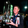 STRONG WORDS: Dundalk manager Stephen Kenny celebrates with the Airtricity League Premier Division trophy. Photo: Sportsfile