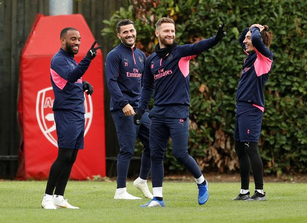BANTER: (l-r) Arsenal's Alexandre Lacazette, Sead Kolasinac, Shkodran Mustafi and Hector Bellerin pictured during training ahead of tonight's clash with Sporting Lisbon. Photo: REUTERS