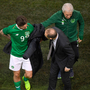 Martin O'Neill checks on injured striker Sean Maguire in last night's game