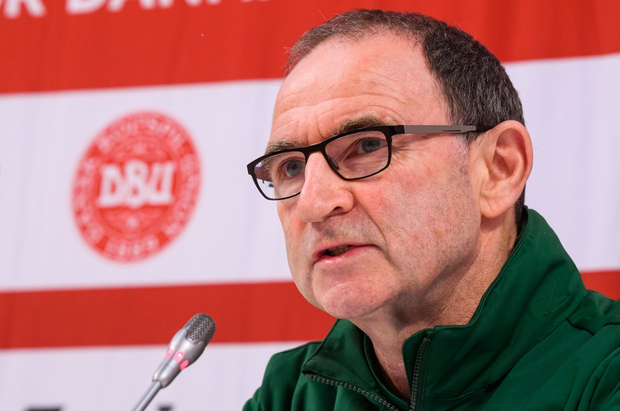 FACING THE MUSIC: Ireland manager Martin O'Neill speaks during a press conference at Ceres Park in Aarhus, Denmark yesterday ahead of tonight's Nations League tie. Pic: Sportsfile