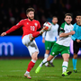 Lasse Schöne of Denmark in action against Ireland's Robbie Brady during last night's Nations League B match at Ceres Park in Aarhus