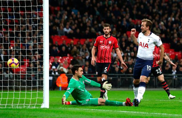 ONE UP: Tottenham striker Harry Kane opens the scoring against Southampton at Wembley. Pic; Getty