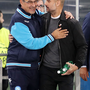 OLD PALS: Maurizio Sarri and Pep Guardiola are pictured back in November 2017