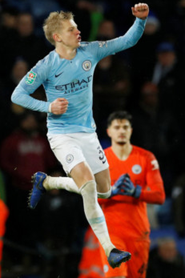 Manchester City's Oleksandr Zinchenko celebrates scoring the winning penalty during the League Cup quarter-final shoot-out