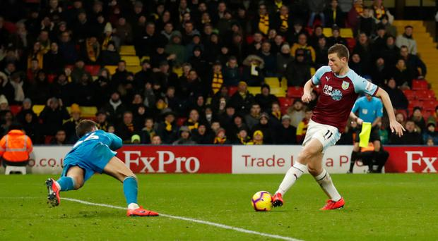 BURN-ING ISSUE: Chris Wood's late goal was ruled out at Vicarage Road. Pic: Reuters