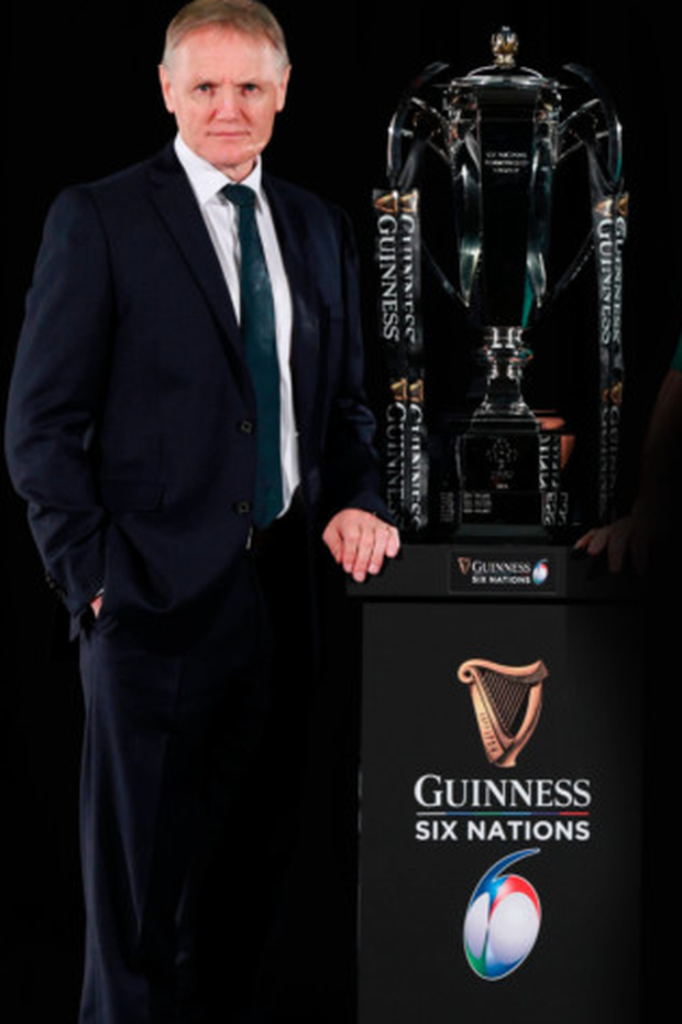 Ireland head coach Joe Schmidt is pictured with the Six Nations trophy during the 2019 Guinness Six Nations Rugby Championship launch at the Hurlingham Club in London