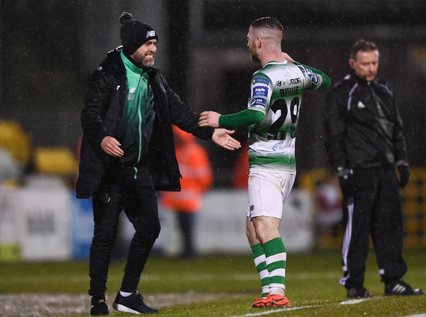 (l-r) Rovers boss Stephen Bradley must plan without Jack Byrne for tonight's clash with Finn Harps. Photo: Sportsfile