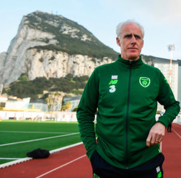 Ireland manager Mick McCarthy is pictured in the shadow of the Rock of Gibraltar during training yesterday