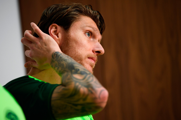 FOCUS: Jeff Hendrick pictured in yesterday's press conference. Photo: Sportsfile