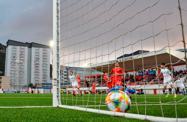BACK OF THE NET: Hendrick scores against Gibraltar last Saturday. Photo: Sportsfile