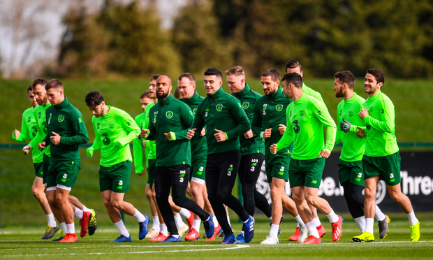GEORGIA ON THEIR MINDS: The Ireland squad train at Abbotstown yesterday ahead of tonight's clash with Georgia. Photo: SPORTSFILE