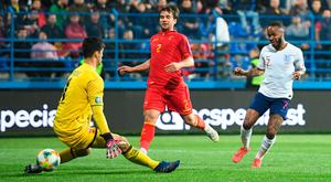 Raheem Sterling scores England's fifth goal in Podgorica last night. Photo: Getty Images