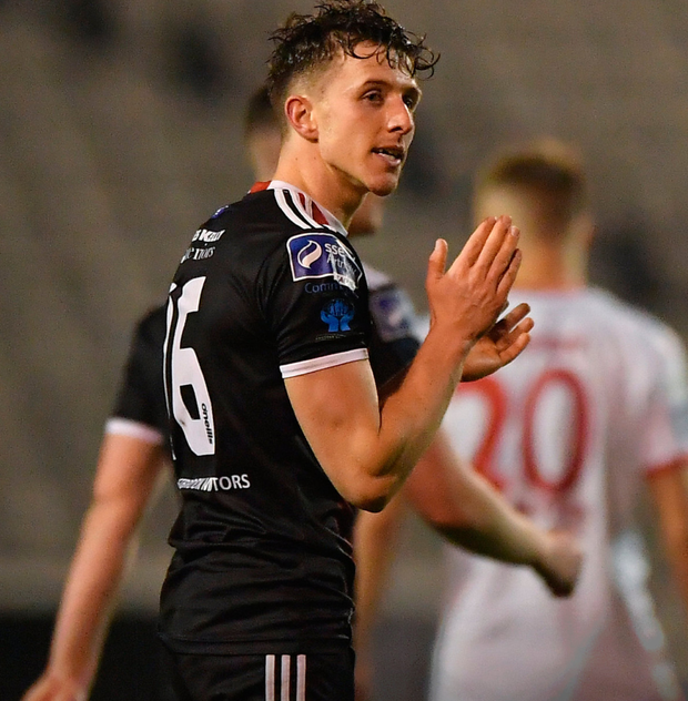 Keith Buckley celebrates his goal against St Patrick's Athletic in last night's Premier Division clash at Dalymount Park