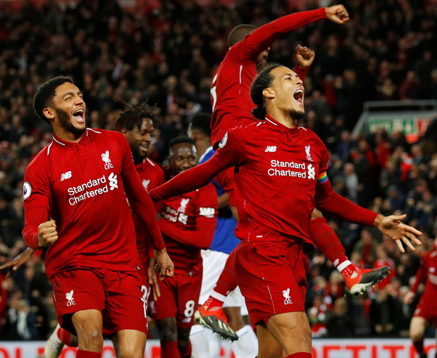 Unity of purpose: Liverpool players celebrate in the recent win over Everton