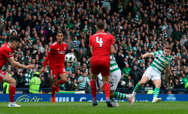 FIRST BLOOD: James Forrest opens the scoring for Celtic in yesterday's Scottish Cup semi-final win over Aberdeen at Hampden Park. Photo: PA