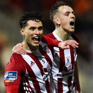 Leixlip-born Eoghan Stokes (left) celebrates a goal for Derry City against UCD this season with team-mate Ciaron Harkin