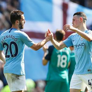 TITLE TILT: (l-r) City's Bernardo Silva and Phil Foden. Pic; Reuters