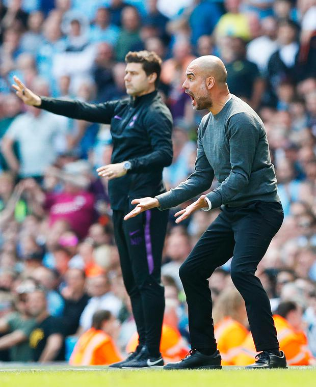 HEAT OF THE MOMENT: Manchester City manager Pep Guardiola shows his emotion during the win over Spurs. Pic: PA