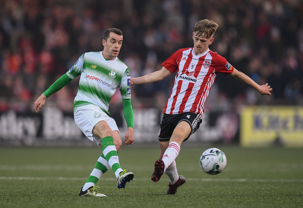 TOP OF THE PILE: Shamrock Rovers' Sean Kavanagh in action last Friday against Derry City's Ciaron Harkin
