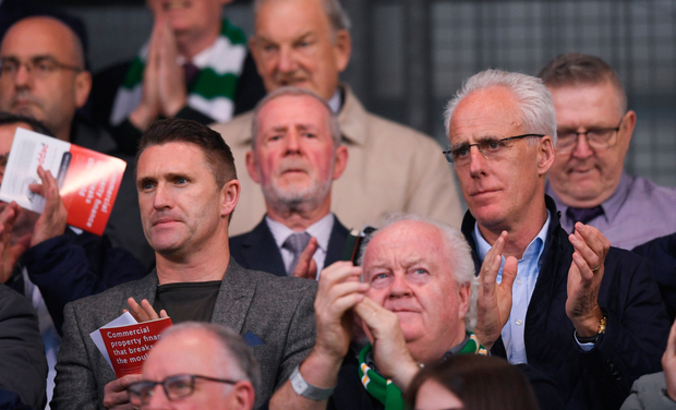 DERBY FOCUS: (l-r) Ireland assistant coach Robbie Keane and manager Mick McCarthy are pictured at Tuesday night's clash between Rovers and Bohs