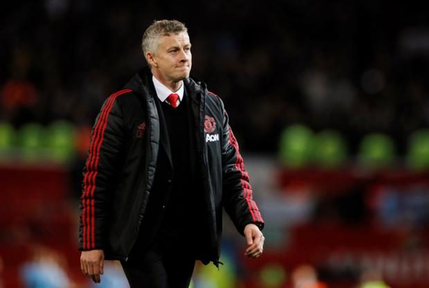 United boss Ole Gunnar Solskjaer shows his dejection at the end of the game