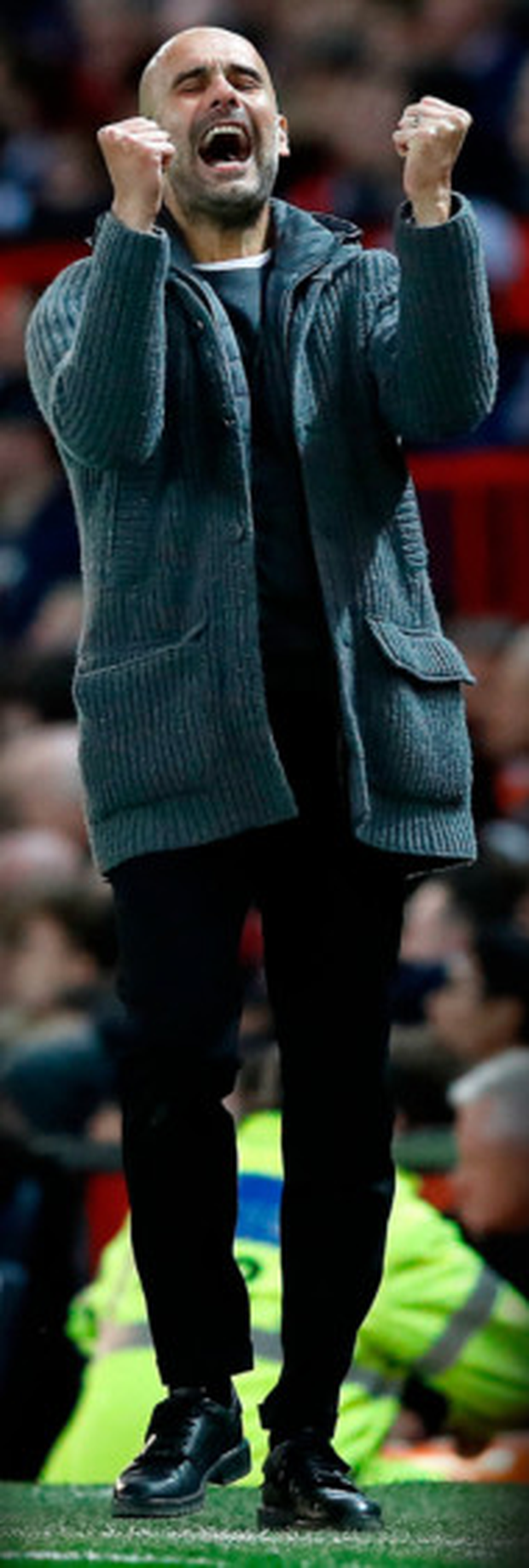 Manchester City manager Pep Guardiola celebrates the midweek derby win over Manchester United