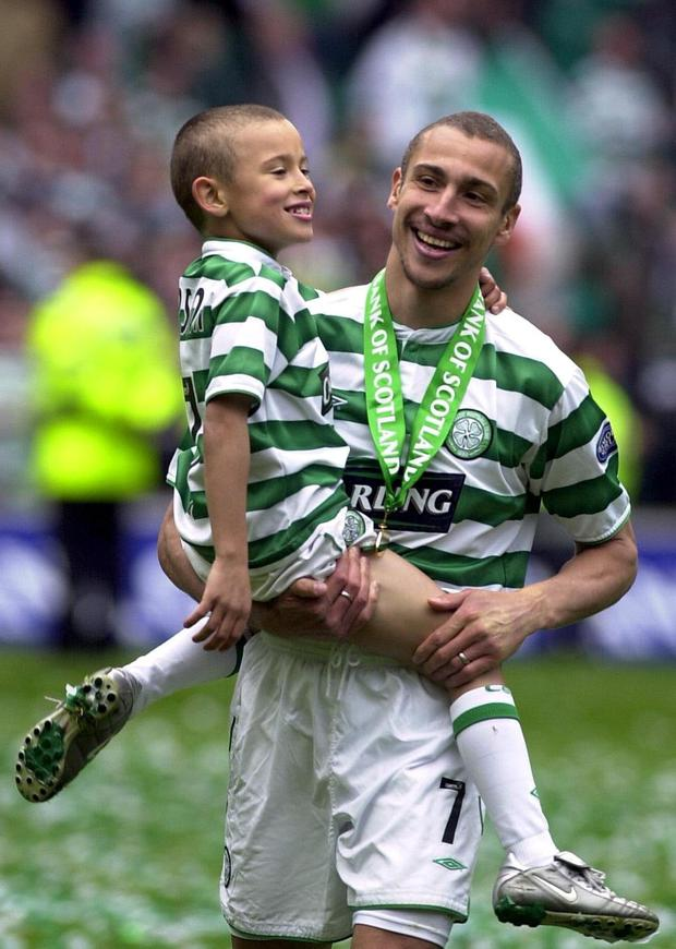 LIKE FATHER, LIKE SON: Jordan Larsson with his Dad Henrik in 2004.