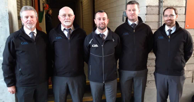 A family affair: All-Ireland final referee David Gough (centre) with his umpires (from left) Eugene Gough, Terry Gough, Stephen Gough and Dean Gough