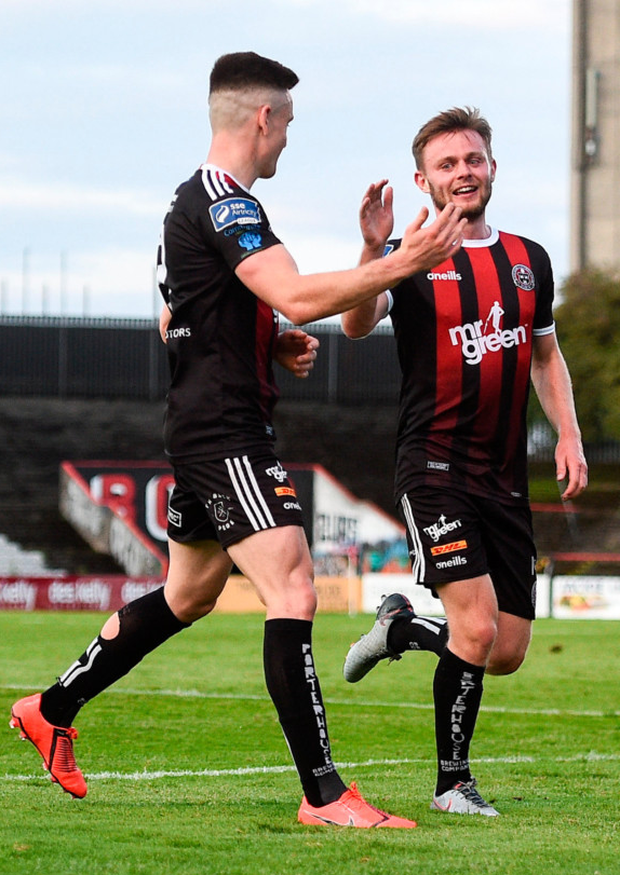 Bohs' Conor Levingston (right) celebrates with Darragh Leahy after scoring his side's second goal against UCD at Dalymount Park