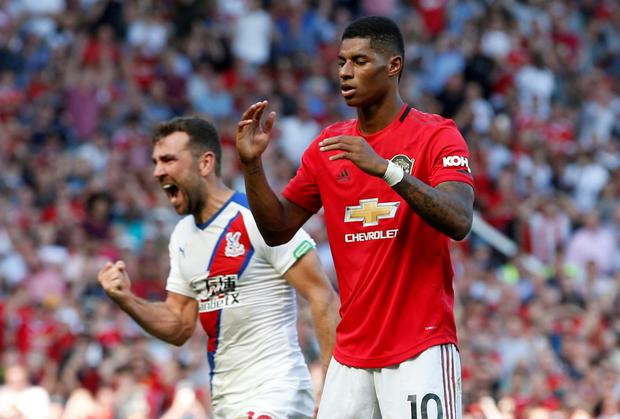 PAYING THE PENALTY: Marcus Rashford reacts after missing a spot-kick against Crystal Palace. Pic: Reuters