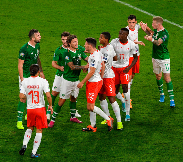 Republic of Ireland and Swiss players fight it out in the final minutes