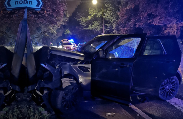 WRITE-OFF: The scene of the car crash in which Richard Keogh suffered seasonending injuries; he was a passenger in the car
