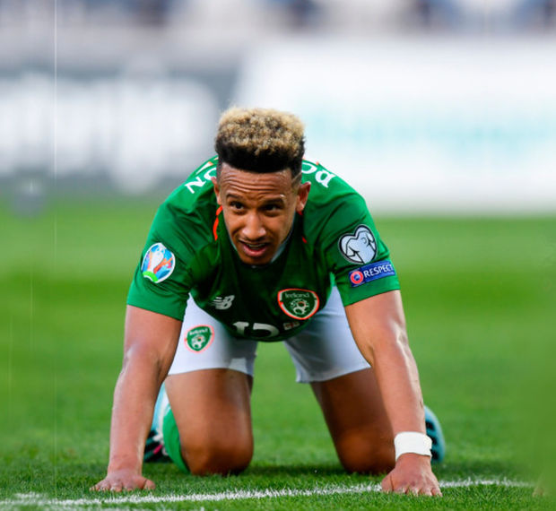 ON HIS KNEES: Callum Ronbinson had a game to forget in Georgia. Pic: Sportsfile