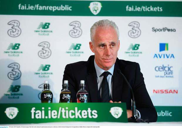 NAMING NAMES: Mick McCarthy at the squad announcement in the SSE Airtricity headquarters in Leopardstown. Pic: Sportsfile