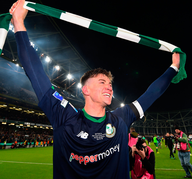 Ronan Finn of Shamrock Rovers celebrates following his side's FAI Cup Final victory over Dundalk at the Aviva Stadium