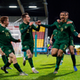 LETHAL: Adam Idah (9) celebrates with his Republic of Ireland team-mates after putting them 2-1 up. Photo: SPORTSFILE