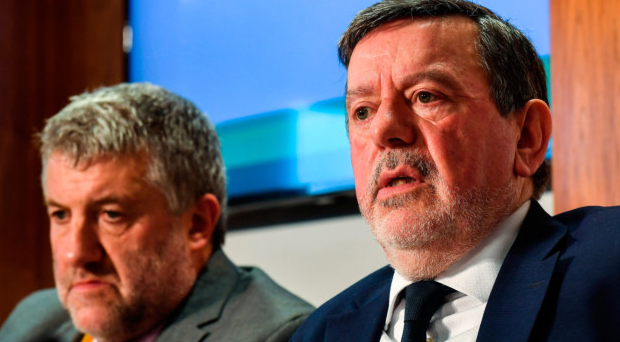 IN THE RED: FAI President Donal Conway, right, and lead executive Paul Cooke at the announcement of the FAI's accounts