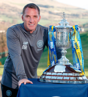 UP FOR THE CUP: Celtic manager Brendan Rodgers with the Scottish Cup ahead of tomorrow's cup clash with Airdrieonians
