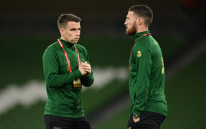 LEADER: Seamus Coleman (l) will still be captain under Stephen Kenny while the new manager praised Matt Doherty (r). Photo: SPORTSFILE