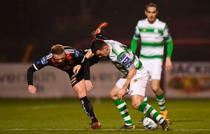 RED ALERT: Aaron Greene was sent-off for this tackle on Bohs' Keith Ward last Monday night. Photo: SPORTSFILE