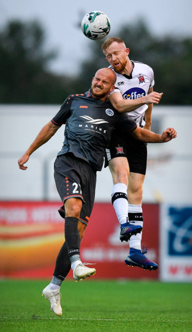 Dundalk's Seán Hoare rises higher than Roman Debelko of Riga during their UEFA Champions League First Qualifying Round 1st leg match at Oriel Park, Dundalk last night.